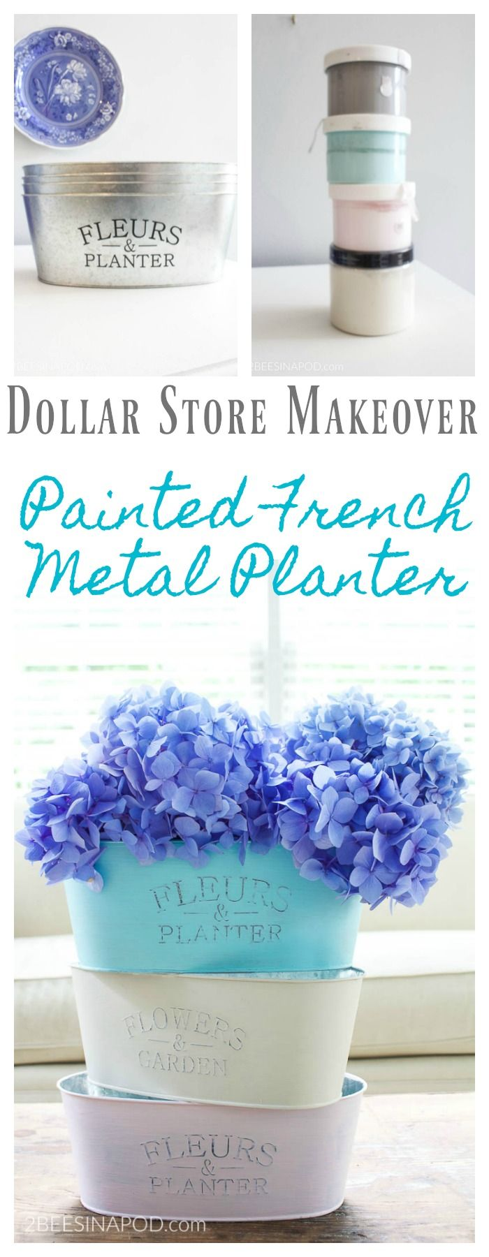 Painted French Metal Planter from the Dollar Store -   19 dollar store pots
