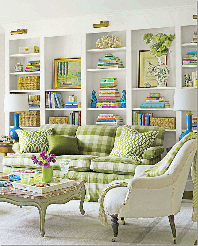 Charming Living Room Sofa W/green Buffalo Check And Lovely Bookcases  Displayed Nicely Behind It. *importance Of Color Continuity