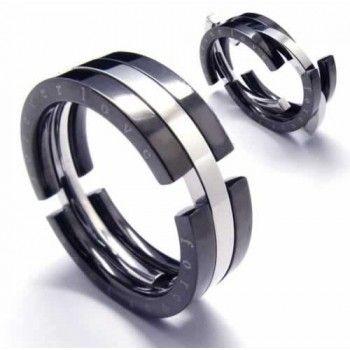 8mm Black Anium Puzzle Ring