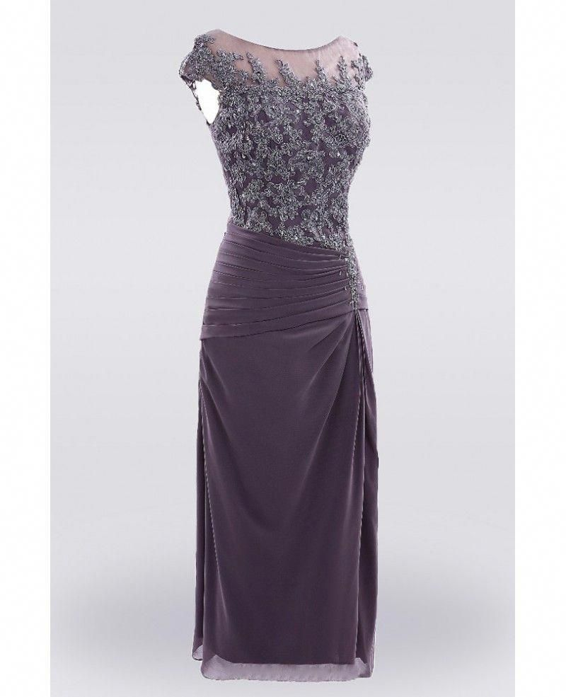 f4d44b76f4f Purple Knee Length Lace Mother Of The  bride Dress With Sleeves Custom Size