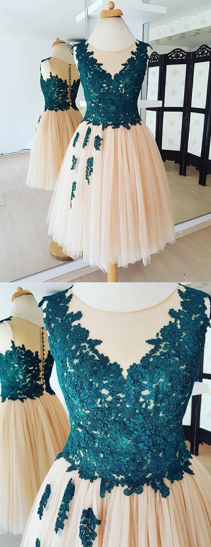 Chic homecoming dresses aline appliques tulle short prom dress