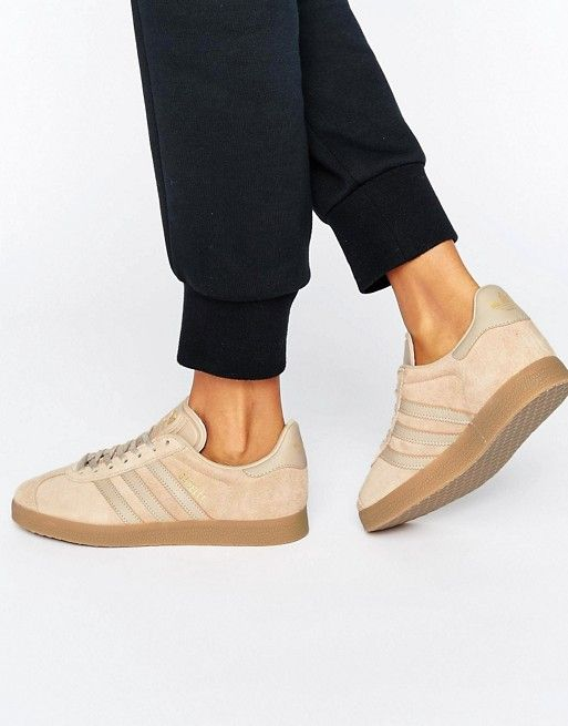 new concept 351a7 83056 Adidas Originals Beige Gazelle Sneakers with Gum Sole