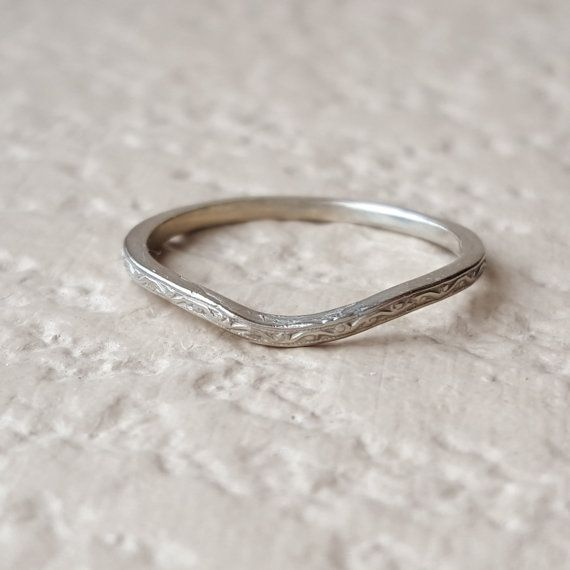 Art Deco Thin Vintage Engraved Curved Wedding Band In 10k Antique White Gold Sz 6 25
