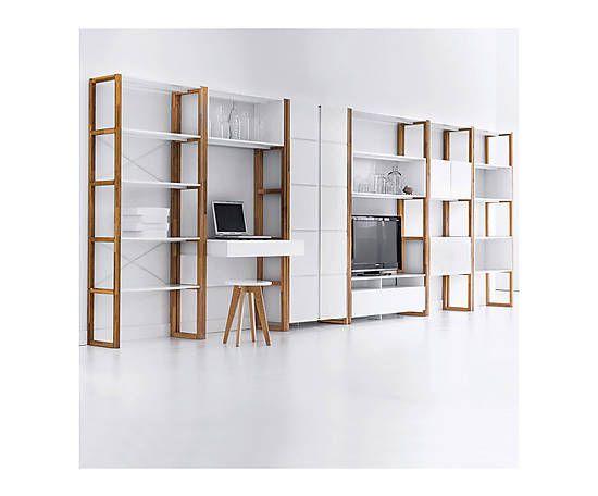 Bibliothèque COMPO bois, blanc et naturel - H190