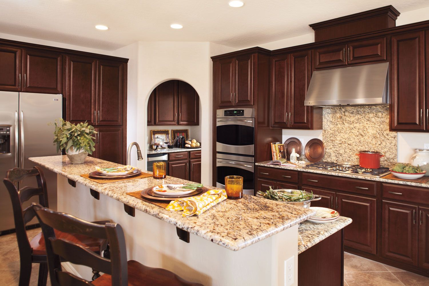 luxury kitchen features timberlake cabinets granite