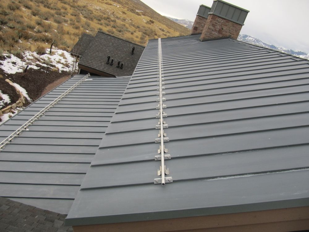 Zinc Standing Seam Roof With Stainless Steel Snow Fence Zinc Roof Standing Seam Roof Metal Roof