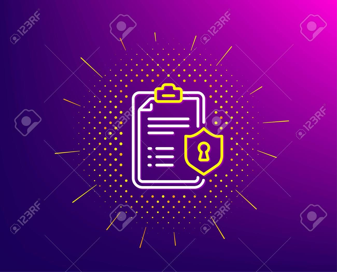 Checklist Line Icon Halftone Pattern Privacy Policy Document Sign Illustration Sponsored Halftone Pattern Icon Checklist Line