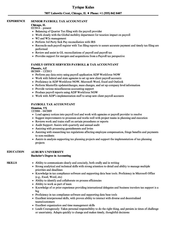 Payroll Tax Accountant Resume Samples Sales Resume Examples Resume Examples Job Resume Examples