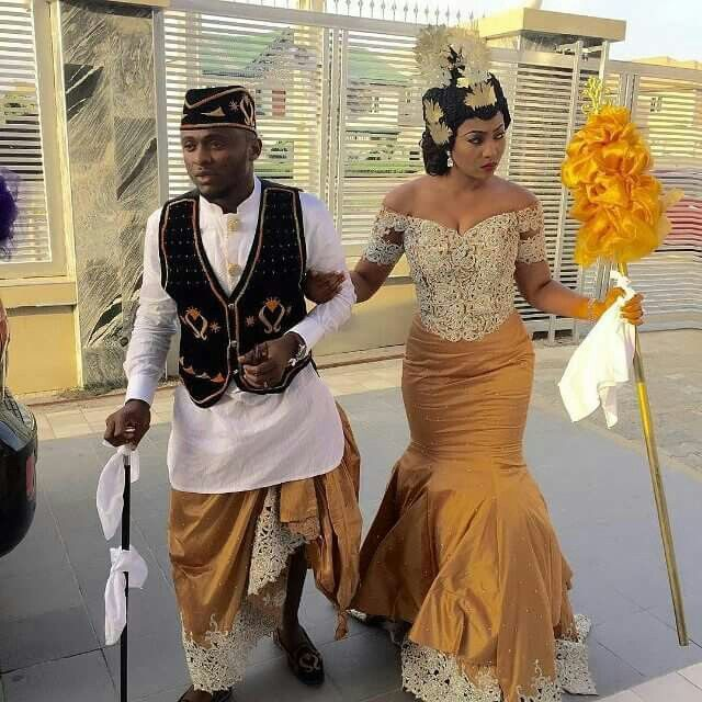 Image result for traditional marriage outfits in nigeria for husband and wife