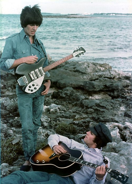 The Beatles- on the set of their movie HELP! in the Bahamas
