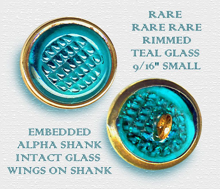 Very Rare 19th C. Teal Rimmed Glass Waistcoat Jewel Button ~ R C Larner Buttons at eBay http://stores.ebay.com/RC-LARNER-BUTTONS