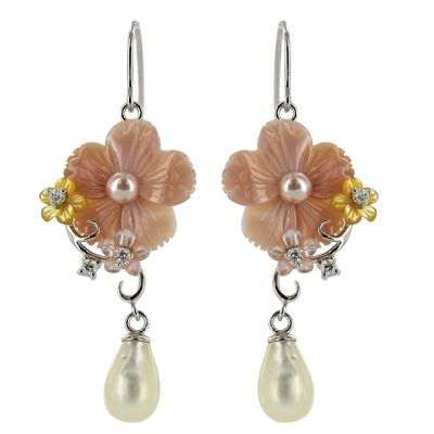 Sterling Silver Shell, Pearl and CZ Flower Dangle Earrings - Fire & Ice