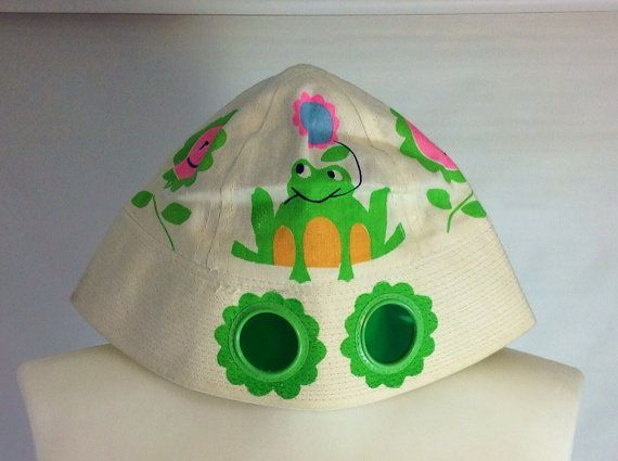 Vtg 60s Sun Hat Kids Hat with Built In Sunglasses  1960s Mod Flower Power 1960s Hat Green Frog Vintage Bucket Hat XXS XS Extra Small