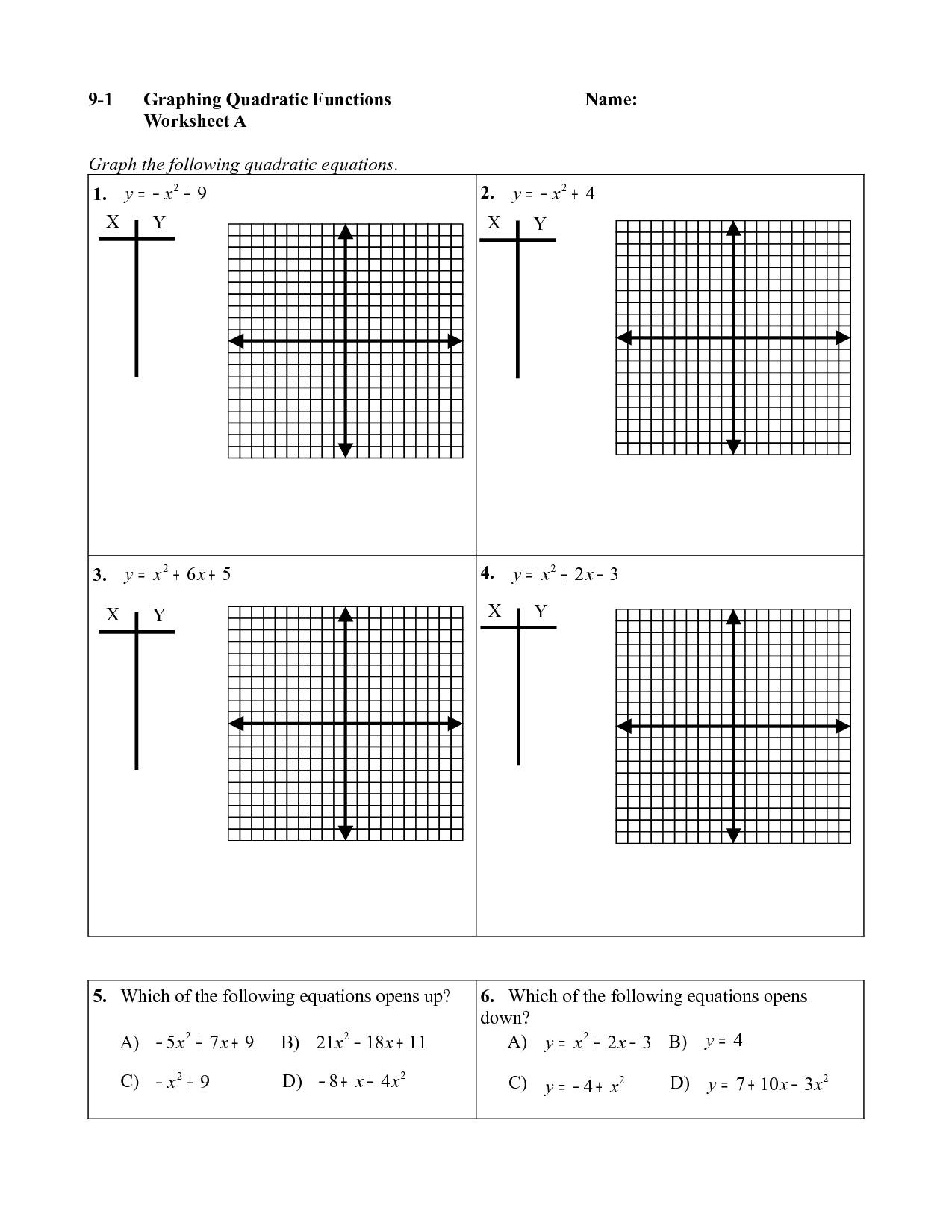 Quadratics Graph Worksheet