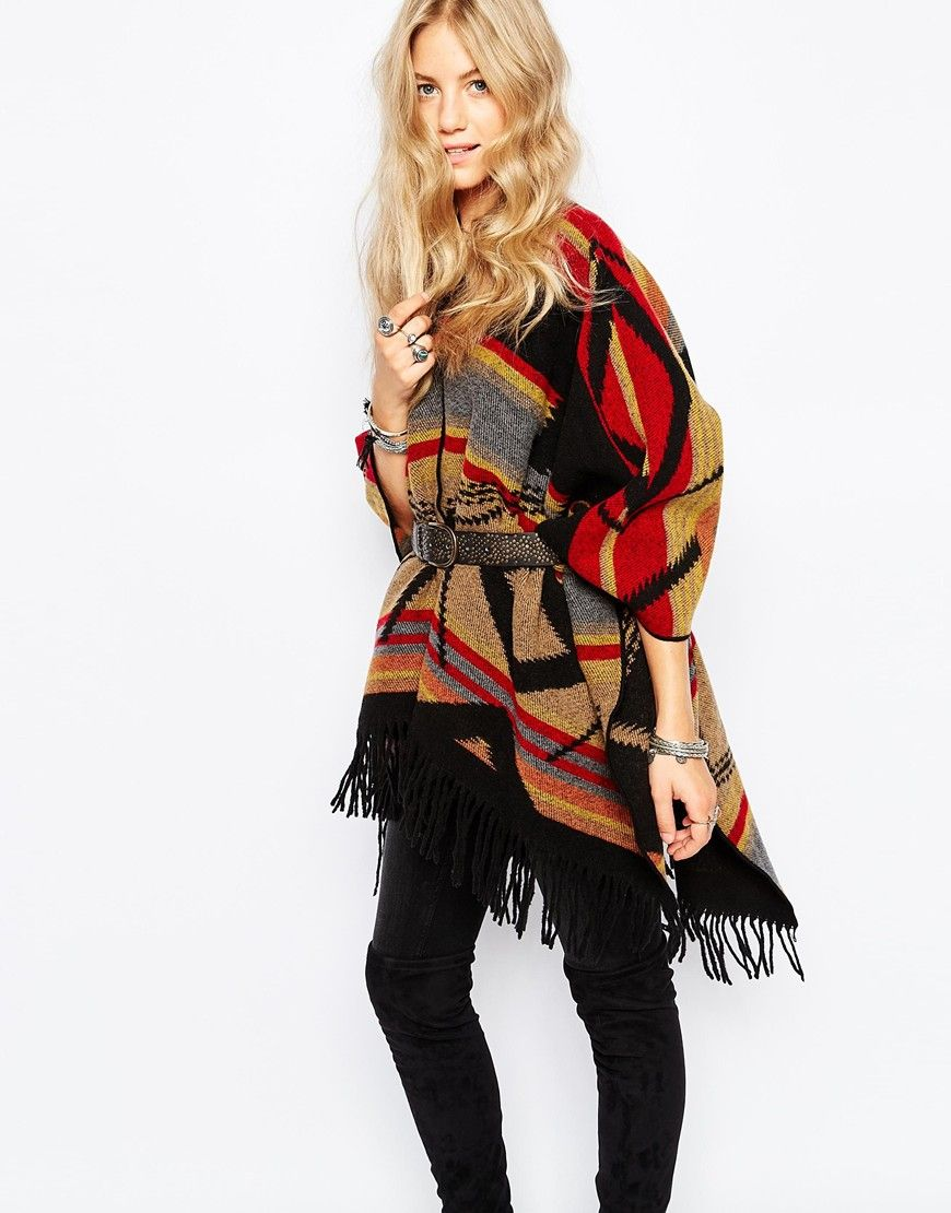 197627a843 Image 1 of Kiboots Reversible Oversized Wool Wrap Poncho | Must-have ...
