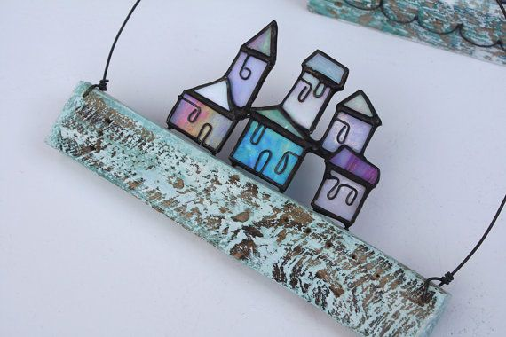STAINED GLASS ART 'Hill Town'  Iridescent Stained by mbGlassArt