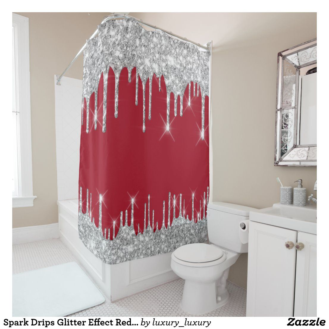 Spark Drips Glitter Effect Red Wine Silver Gray Shower Curtain