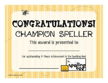 Award Certificates SPELLING BEE Set4 Spelling Bee Pinterest