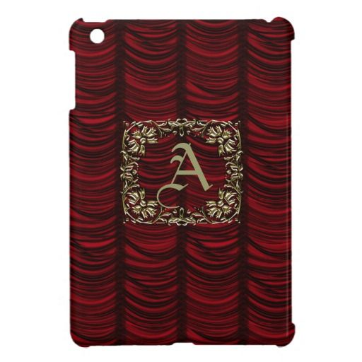 Monogrammed Red Silk Effect and Gold iPad Mini Case by Graphic Allusions. Can be personalized with your own monogram. Available in several different colors. #ipads #ipadcases #miniipad #customized  $44.95