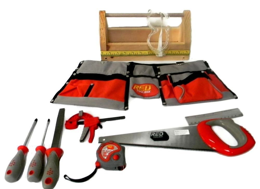 0079ee213 Red Toolbox Real Work Tools For Kids Tool Belt with Handmade Tool box  #RedToolBox