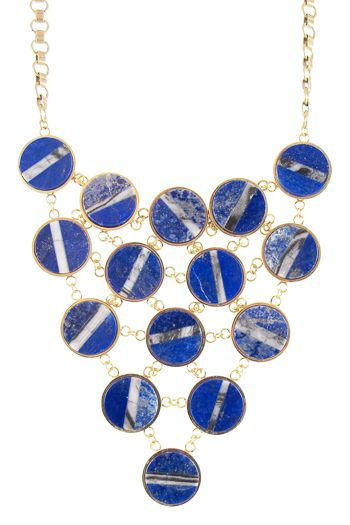 Kelly Wearstler Ritzo Statement Necklace.  Fifteen Lapis  with agate inlay stones linked by a delicate brass chain. #kellywearstler