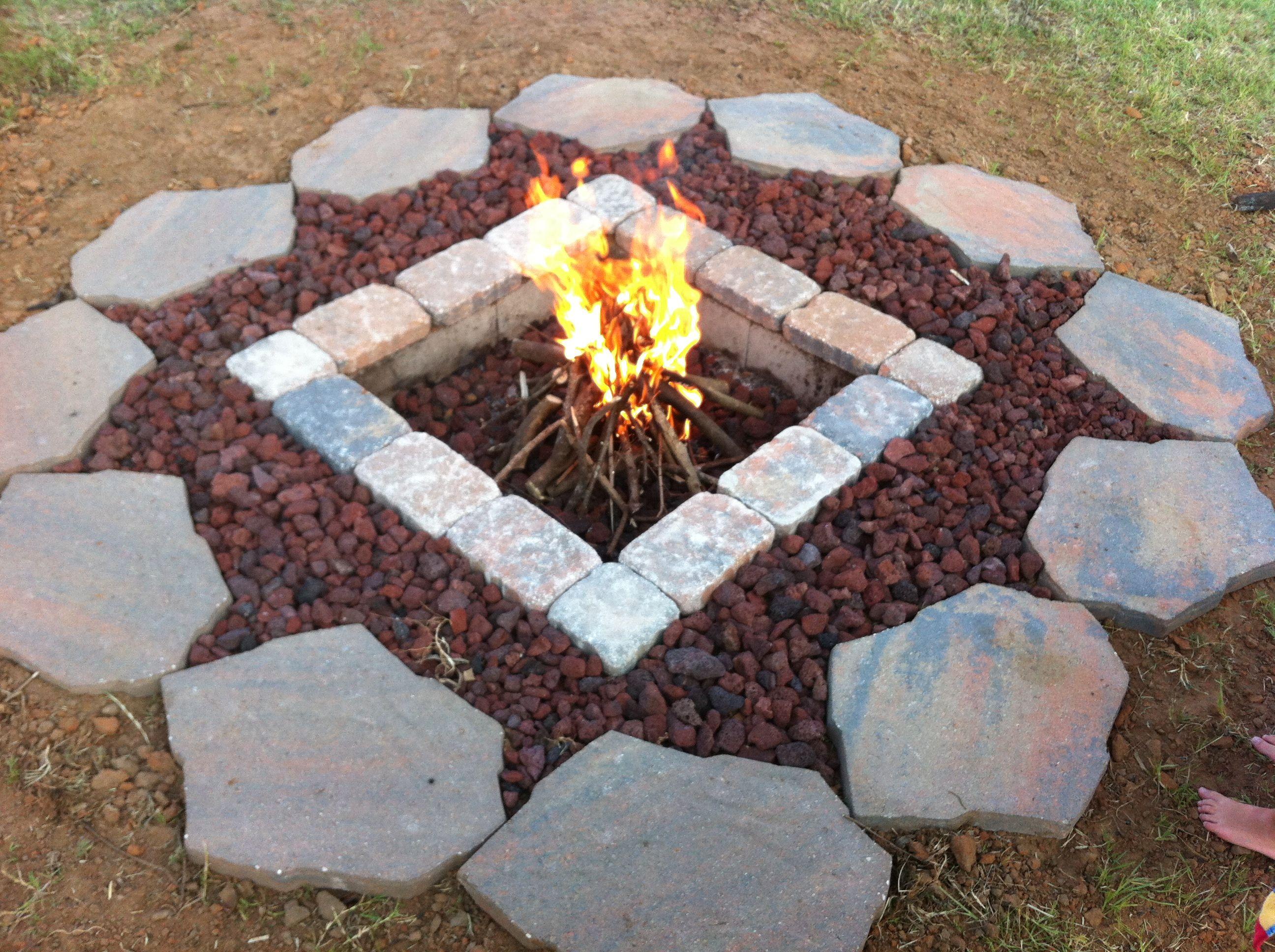 Concrete Block Pavers And Lava Rock Simple Inexpensive