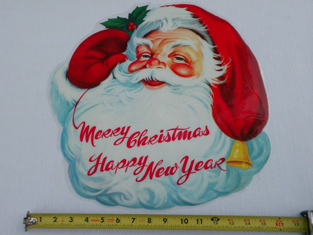 Vintage Colorful 1965 Cellophane MERRY CHRISTMAS Window DECORATION with SANTA