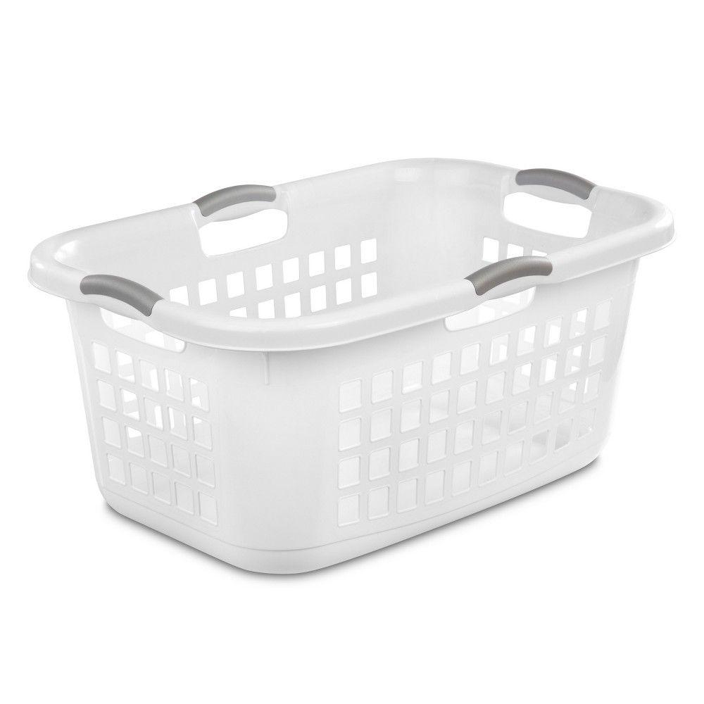 12 Pack Sterilite 2.3 Bushell 81 Liter Lift Top XL White Laundry Basket Hamper