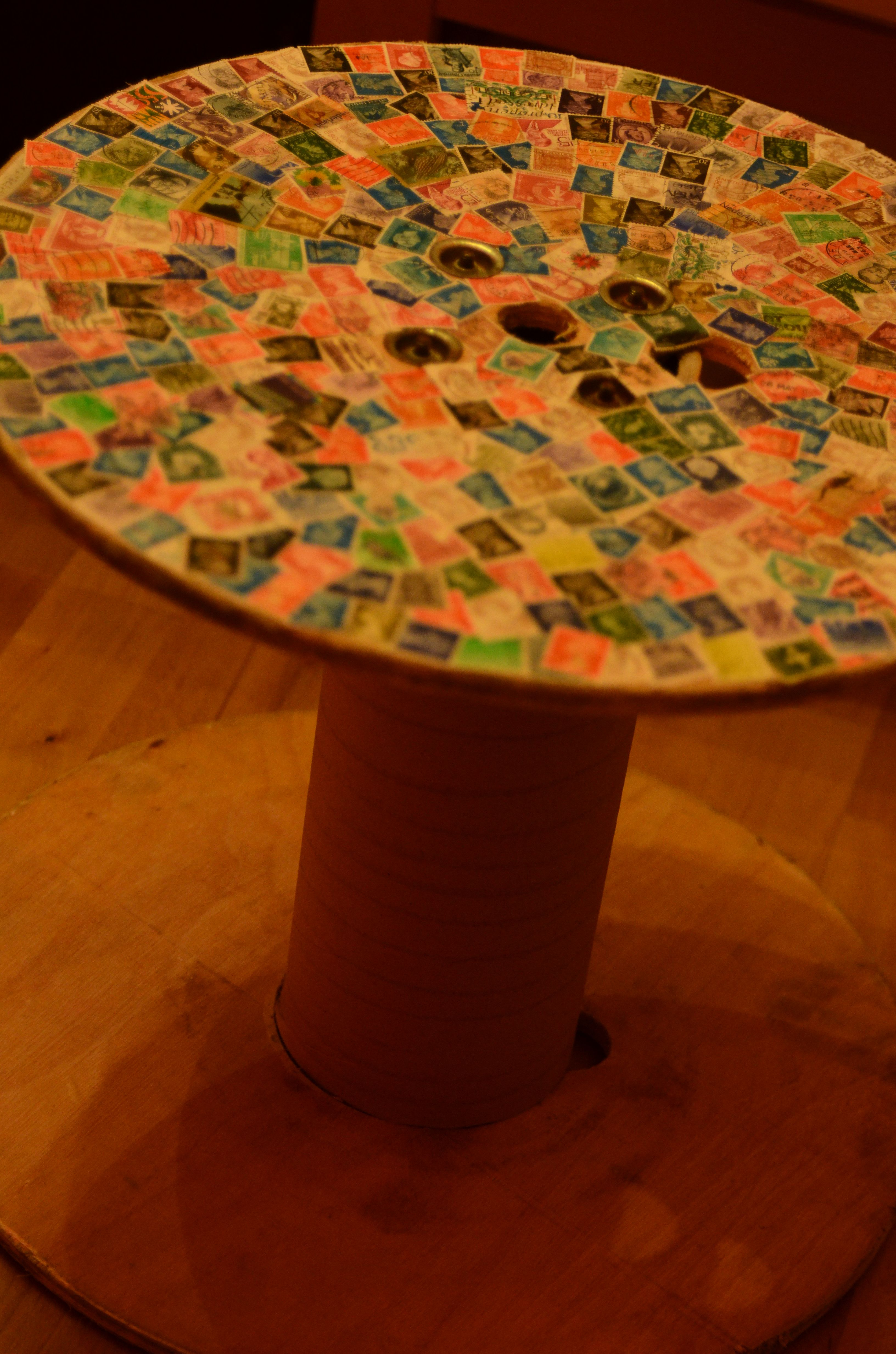 Cable spool with old stamps  DIY cable drum