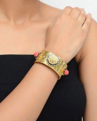 #Exclusivelyin, #IndianEthnicWear, #IndianWear, #Fashion, White Rose Golden Cuff