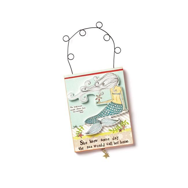 Demdaco Curly Girl Design Mermaid Plaque - She knew some day the sea ...