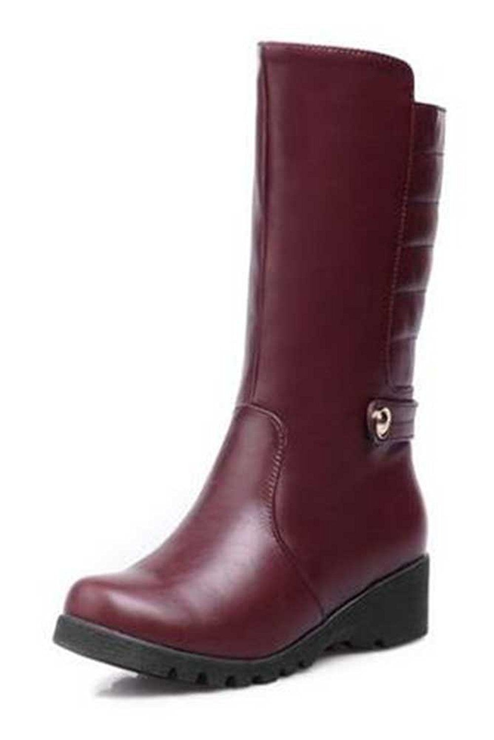 CHFSO Women's Winter Warm Solid Round Toe Pull On Low Heel Mid Cuff Boots -- Details can be found by clicking on the image.