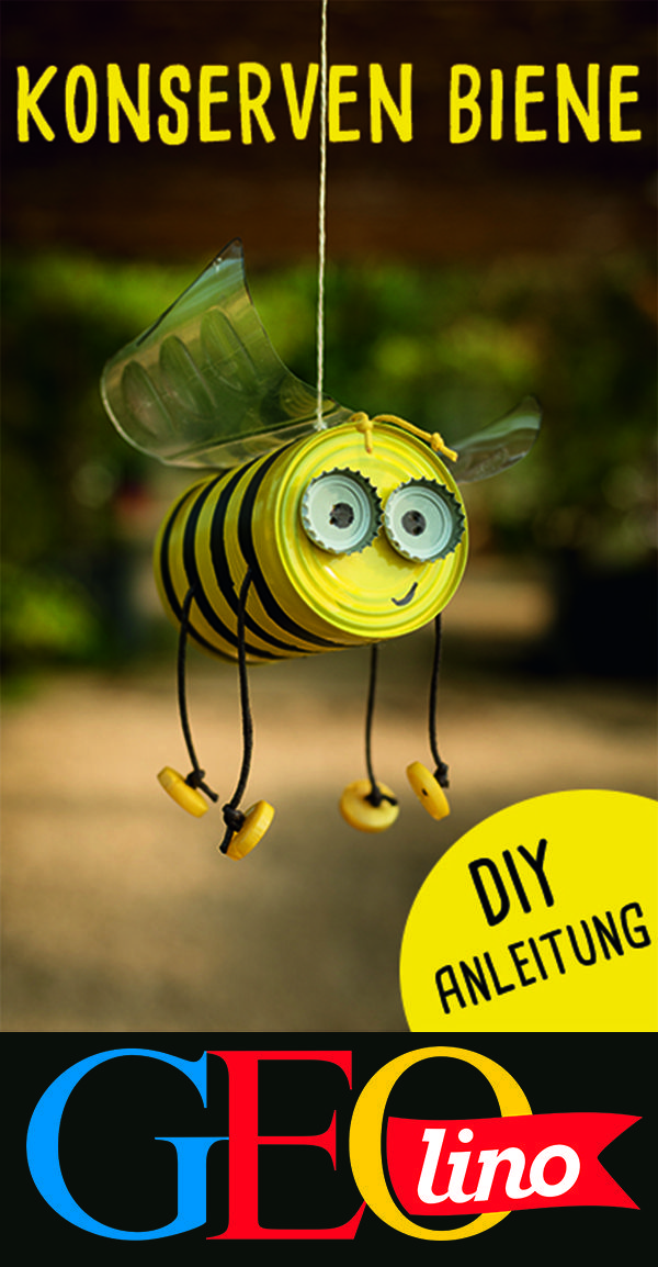 Transform old tin cans into cute bees for the garden. How, we show ... - PhotoLimo #gardenupcycle