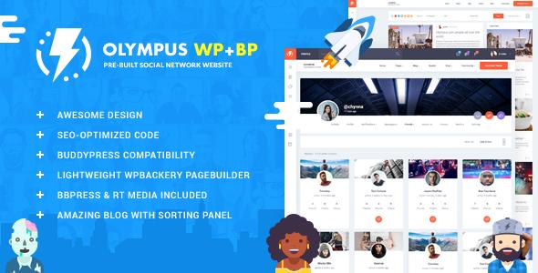 Olympus Responsive Community Social Network WordPress Theme Buddypress