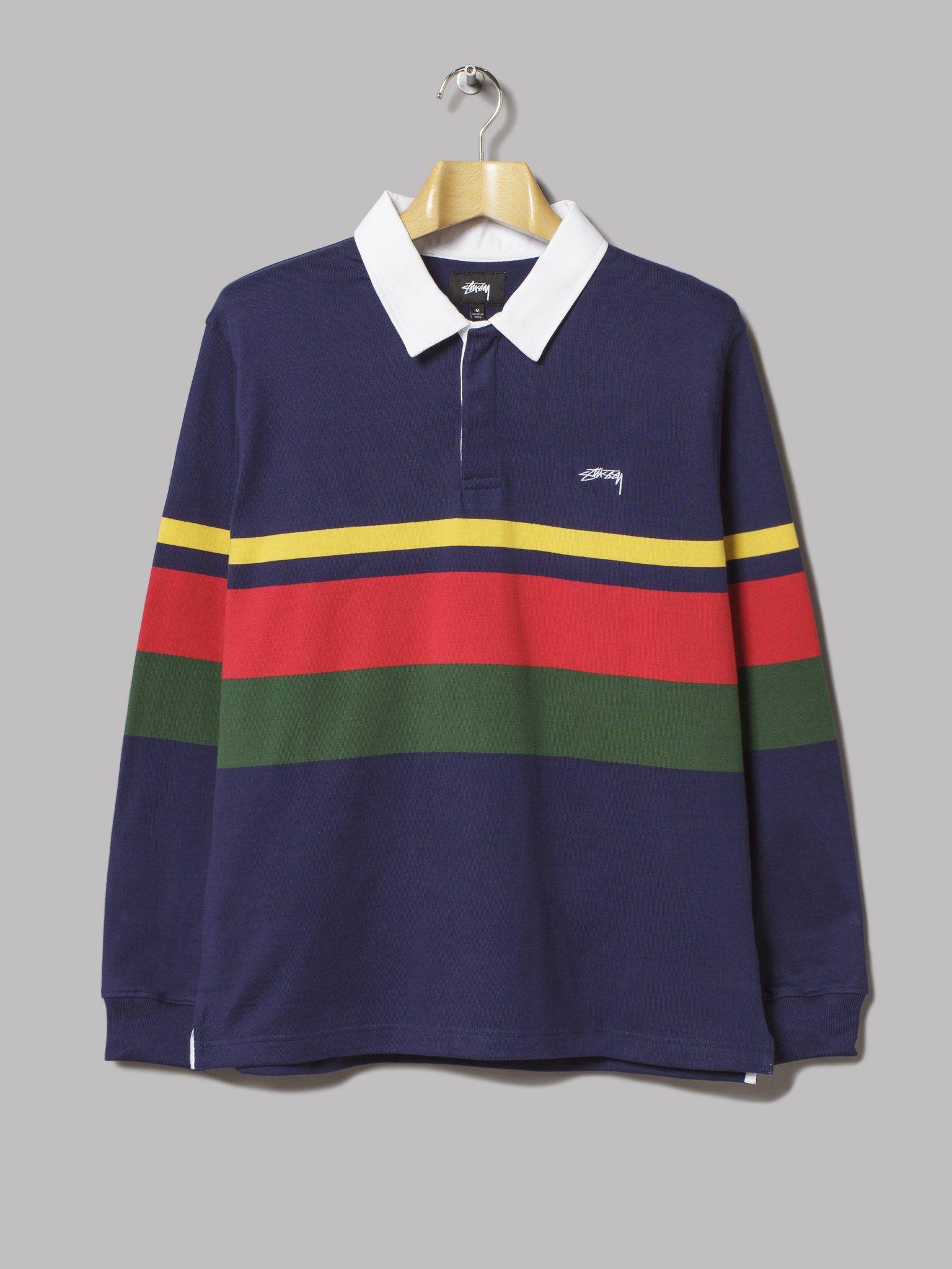 943617b1b2 Stüssy Lucas Stripe Rugby Shirt (Navy) | Amiket szívesen viselnék ...