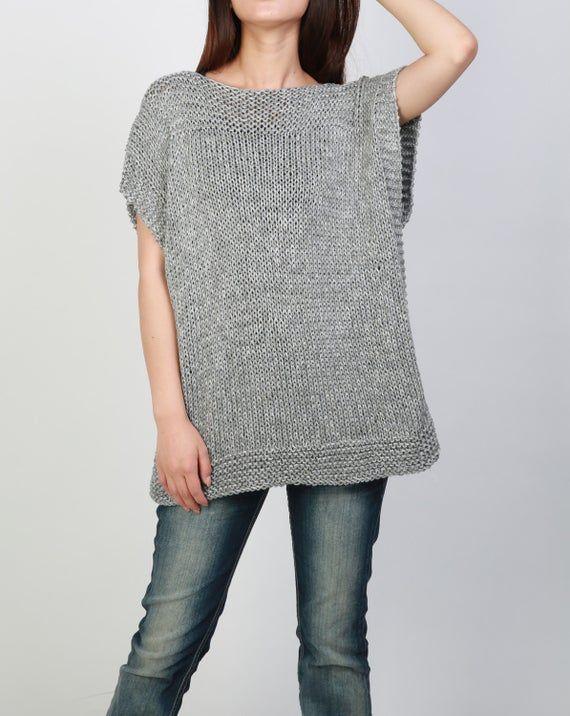 Photo of A mano a maglia tunica maglia grigio eco cotone donna maglia maglione