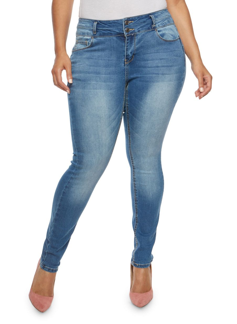 Lace bodysuit with high waisted jeans  Plus Size WAX  Button Push Up Jeans  Plus Size and Fabulous