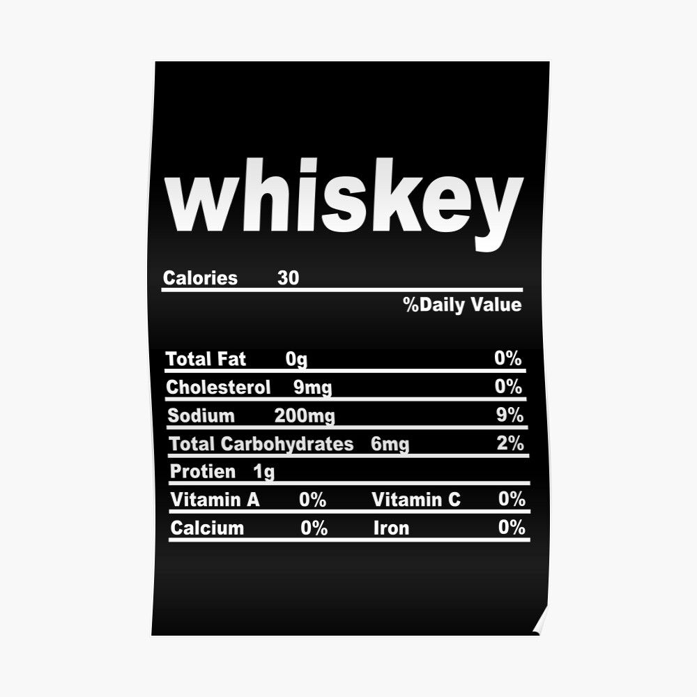 Whiskey Nutrition Facts Funny Poster By Vaishnavi Deshmukh Nutrition Facts Nutrition Facts