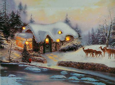 Christmas Decoration Light Up Led Canvas Wall Picture Snow Cottage Deer Wall Hang Decorating With Christmas Lights Deer Wall Hanging Lighted Canvas Art