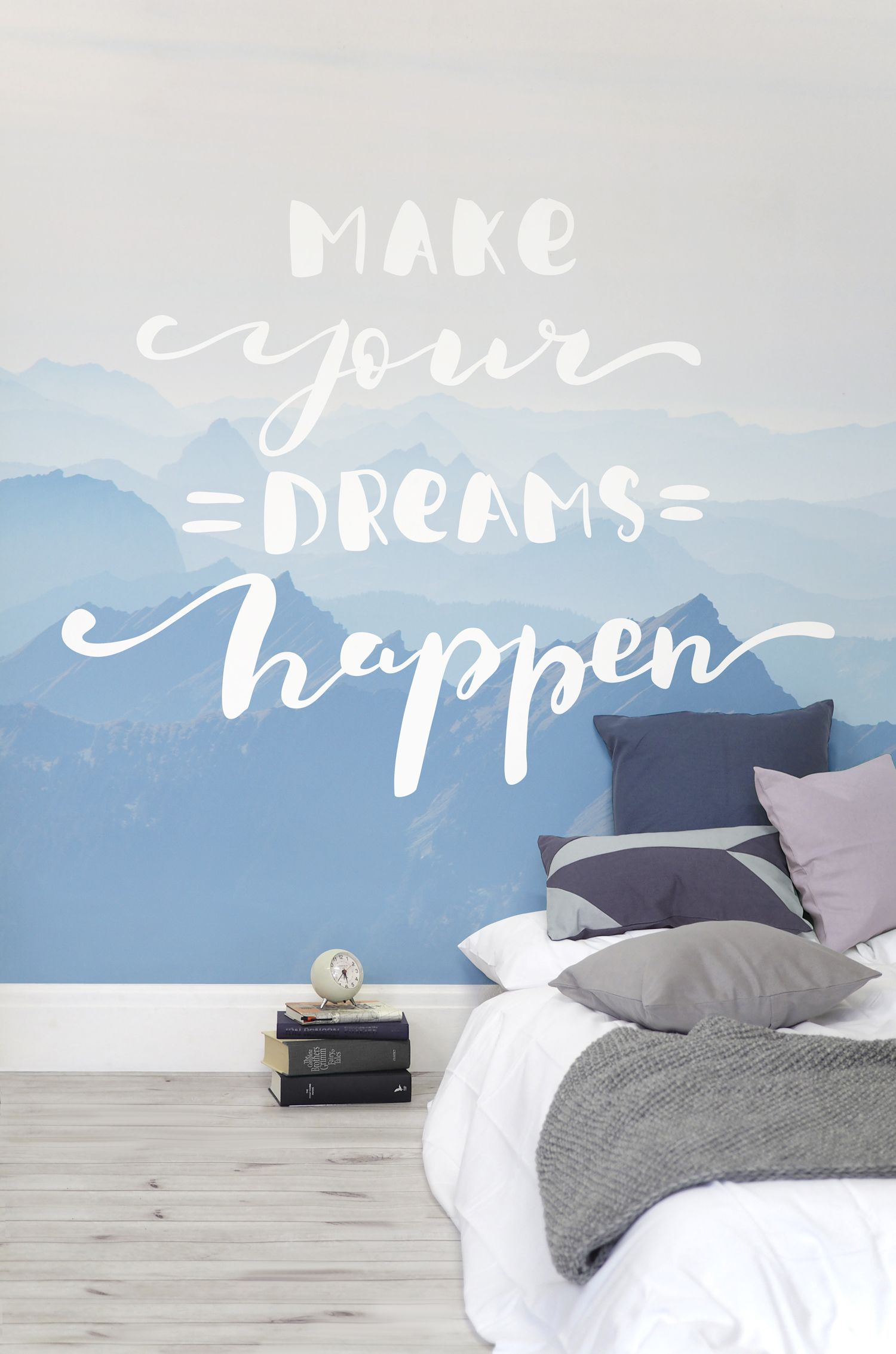 dreams happen inspirational quote wallpaper mural in 2019 wallgo one step ahead the dull wall stickers and spread good vibes with this quote wallpaper mural wonderful misty mountains sets the scene,