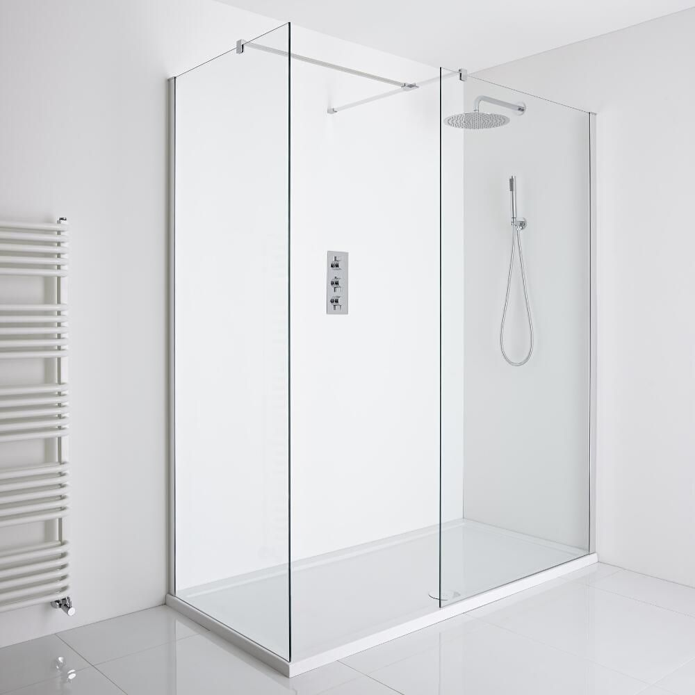 Milano Portland Corner Walk In Shower Enclosure 1100 X 760mm Inc Tray Smallwalkinshowerroom Master Bathroom Shower In 2019 Walk In Shower Enclosures