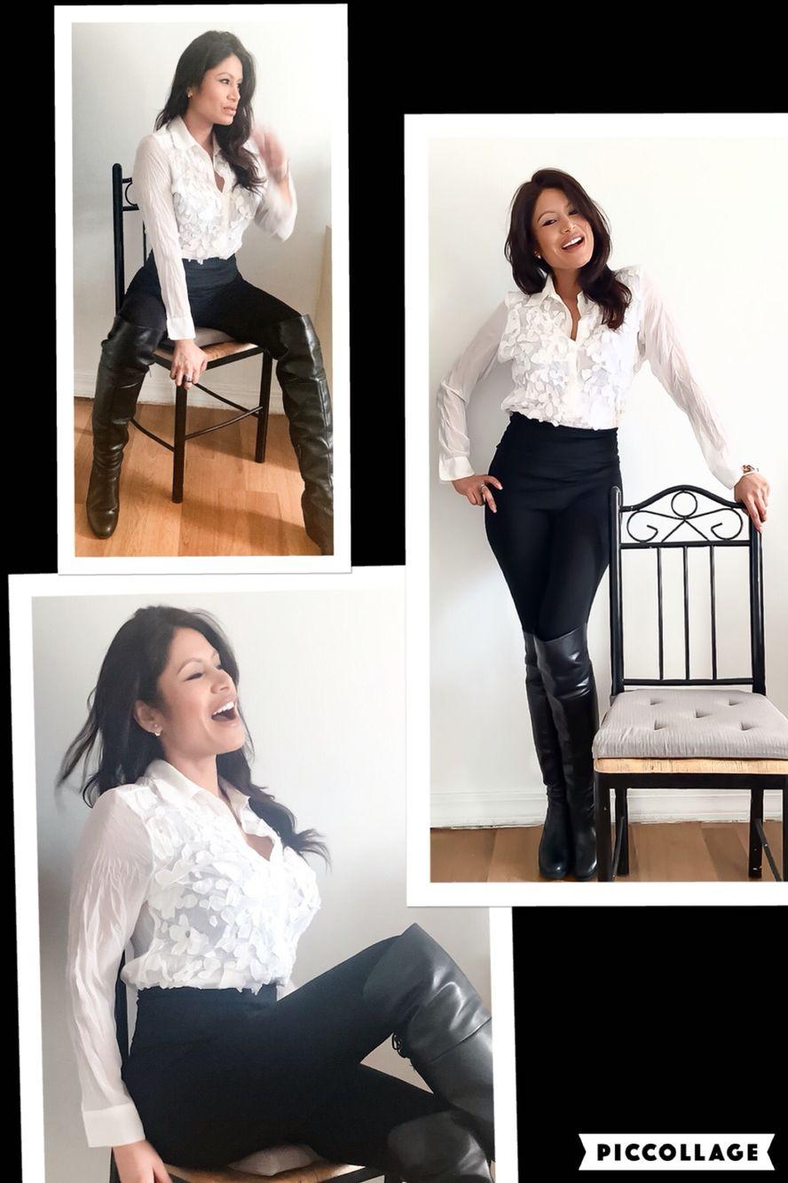 Blanco & Negro ⬛️▪️◻️◽️ Clasica combinacion...siempre ten presente las texturas y Los detalles por que son Los que le daran el estilo diferente al traje  Chicas!! Volvio el tiro alto en Los pantalones que estilizan muy bien las caderas!! Y siempre recordando que las  Botas altas se ve como un acesorio sexy & elegante ✨✨ Una idea mas para Los martes #fashion #moda #peruvianinnewyork #makeupartist #styleandimage #imageconsultant #fashiontips #fashionideas #raquelsaldivar #personalshopper