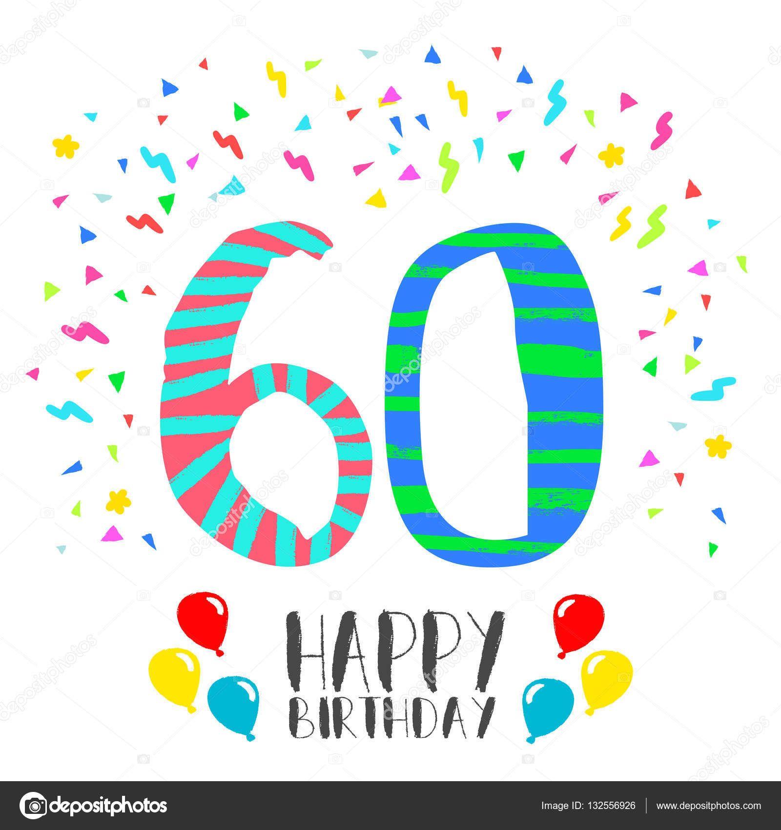 Fiesta Para 60 Años Feliz Cumpleaños Para La Tarjeta De