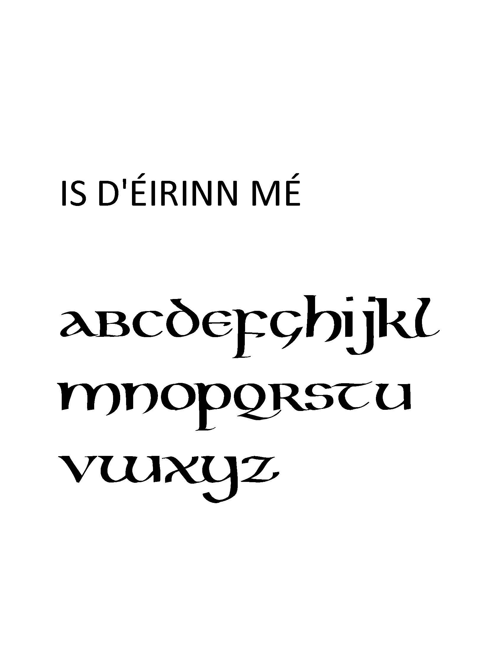 I am of Ireland...in Celtic font....