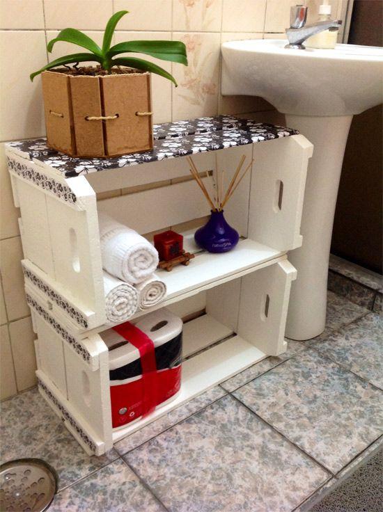 Decoração de banheiro com caixotes  Pandora, Faça você mesmo e Enfeites -> Decoracao Para Banheiro Faca Você Mesmo
