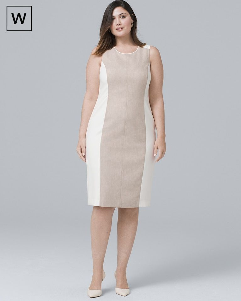 7a733c6dbbe47 Women s Plus Sleeveless Linen-Blend Paneled Sheath Dress by White House  Black Market