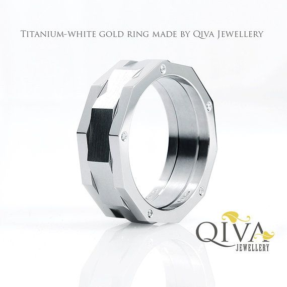 Unique Masculine Mens Ring Wedding Band 10 Diamonds Titanium White Gold Palladium Platinum Handmade Rings Mens Wedding Bands Rings For Men Wedding Ring Bands