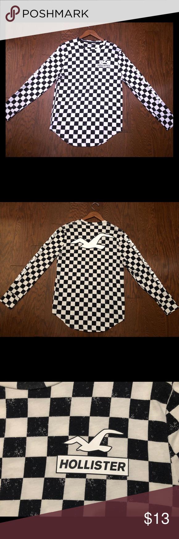 Black And White Checkered Long Sleeve Shirt