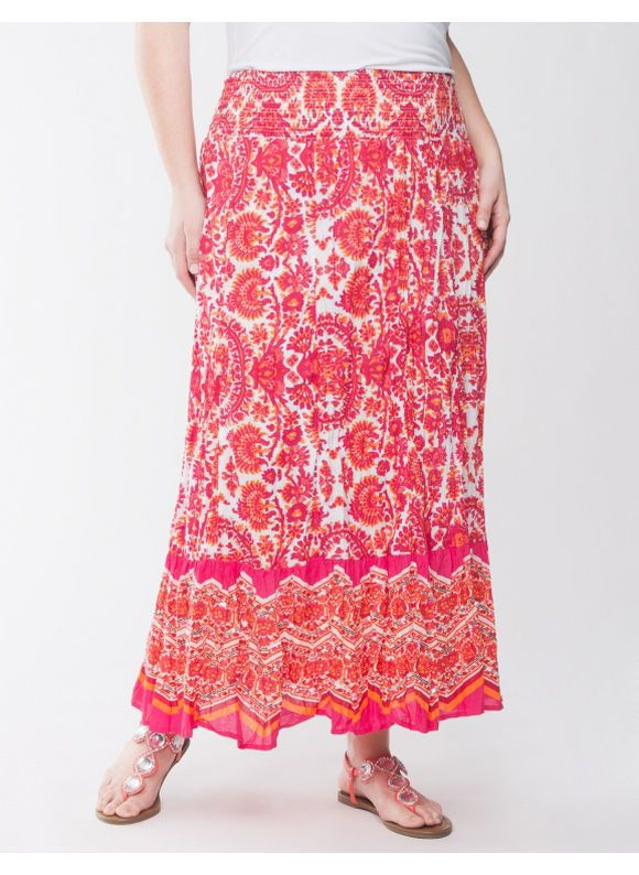 cb8a47a171 Carefree crinkled maxi skirt makes an exotic addition to your season,  featuring a colorful paisley print and sequin-embellished border.