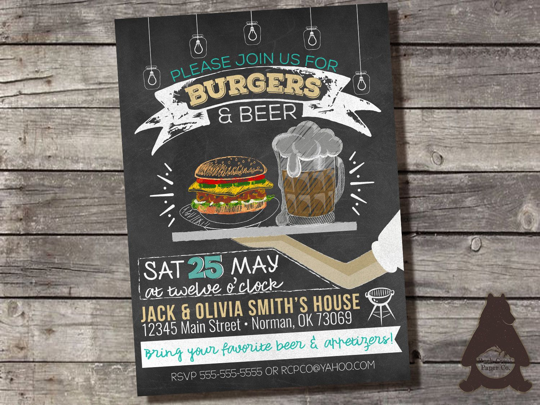 chalkboard burgers u0026 beer invitation barbecue party backyard